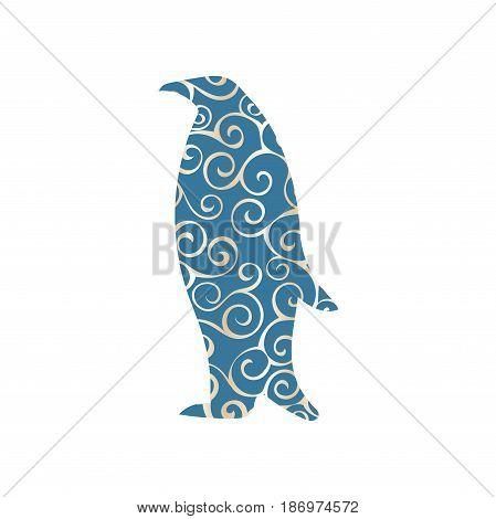 Penguin bird color silhouette animal. Vector Illustrator.