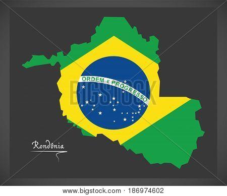 Rondonia Map With Brazilian National Flag Illustration