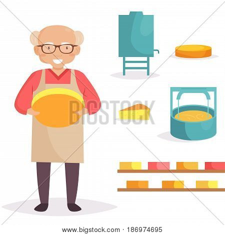 Cheese maker. Machine producing cheese. Isolated art on white background. Vector. Cartoon. Flat
