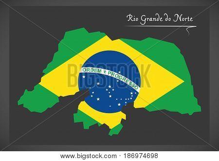 Rio Grande Do Norte Map With Brazilian National Flag Illustration