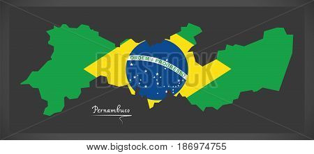 Pernambuco Map With Brazilian National Flag Illustration