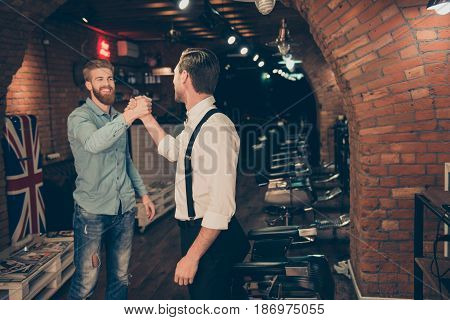 You Are Welcome Friend! Happy Satisfied Client In A Barber Shop. Red Bearded Young Man In A Casual J