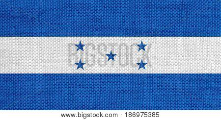 Flag Of Honduras On Old Linen