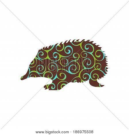 Echidna mammal color silhouette animal. Vector Illustrator.