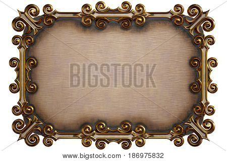 Metal billboard with beautiful frame isolated on white. 3d rendering.