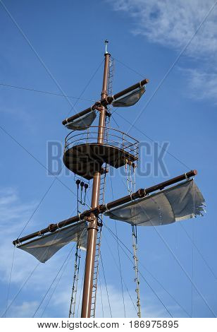 Closeup of the mast of a decorative pirate sailboat
