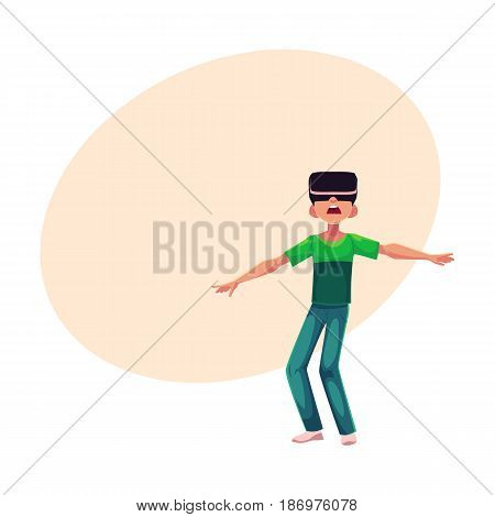 Boy wearing virtual reality headset, simulator, cartoon vector illustration with space for text. Teenager, boy wearing virtual reality simulator, headset, using computer technologies
