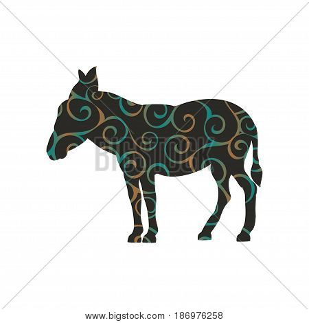 Donkey farm mammal color silhouette animal. Vector Illustrator.