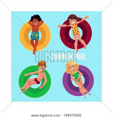 Banner, poster template with black and Caucasian children, kids floating on inflatable rings in swimming pool, top view cartoon vector illustration. Boy and girls swimming on inflatable rings in pool