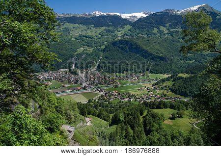 Swiss Village In Valley Near Reichenbach Falls (reichenbachfall) At Swiss Alps, Switzerland