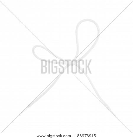 Shoelace bow knot isolated over the white background