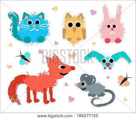 Cute Animals Set. Painted Grunge Texture. Brush strokes cat, textured owl, funny rabbit, smiling fox, hand drawn mouse, flying bird, colorful butterflies. Child style vector illustration.