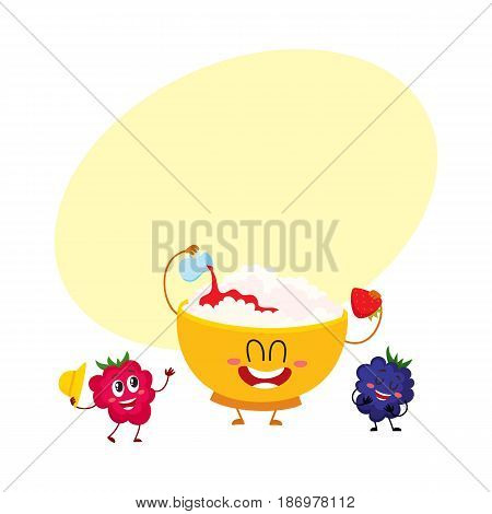 Funny smiling bowl of cottage cheese and raspberry, blackberry berry characters, cartoon vector illustration with space for text. Cute and funny cottage cheese bowl and berry characters