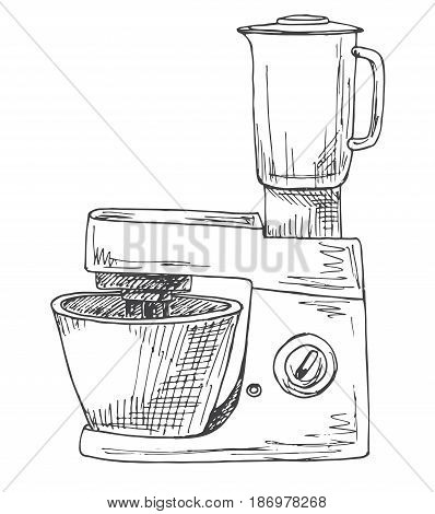 Food processor isolated on a white background. Vector illustration in sketch style