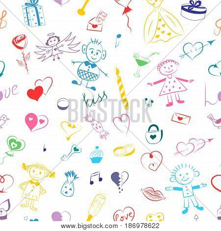 Seamless Pattern of Colorful Hand Drawn Set of Valentine's Day Symbols. Children's Cute Drawings of Hearts Gifts Rings Balloons and Kids. Sketch Style. Vector Illustration.