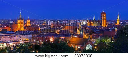 GDANSK, POLAND - MAY 6, 2016: Panorama of city center in Gdansk at night, Poland. Gdansk is the historical capital of Polish Pomerania with medieval old town architecture.