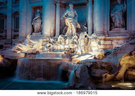 famous Trevi Fountain at night (Italian: Fontana di Trevi), Rome, Italy