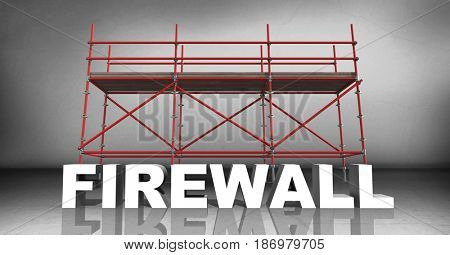Digital composite of 3D word firewall against scaffolding in grey room