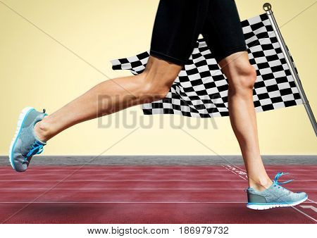 Digital composite of Runner legs on track against yellow background and checkered flag