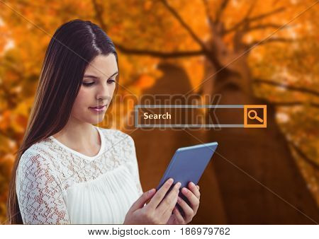 Digital composite of Woman on phone with Search Bar with forest background