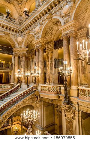 Paris, France, March 31 2017: Interior view of the Opera National de Paris Garnier, France. It was built from 1861 to 1875 for the Paris Opera house