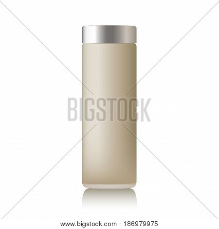 Realistic beige cosmetic cream container. Mock up bottle. Gel, powder, balsam, with design label. Containers for bulk mixtures.