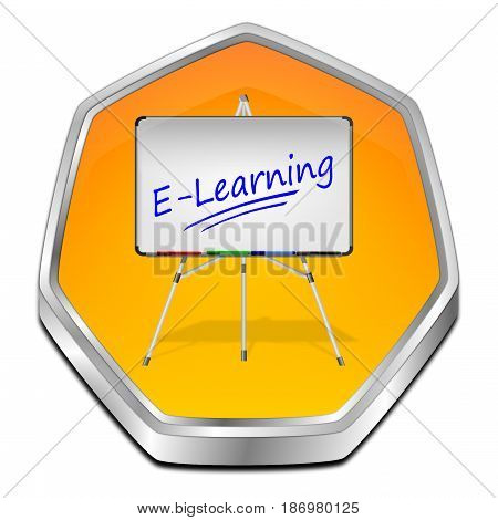 decorative orange E-Learning Button - 3D illustration