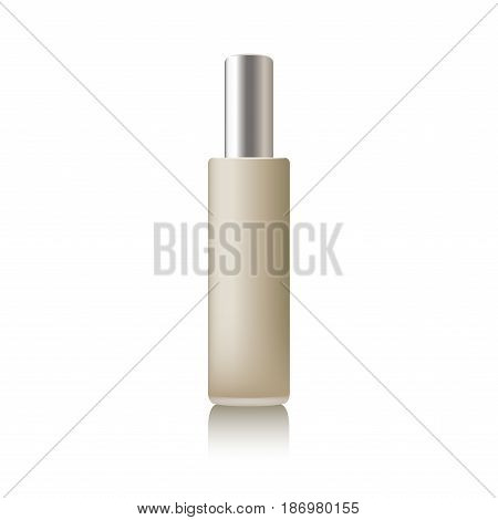 Beige realistic tube mock-up for cream dispenser, lotion, gel, medicine cream, tone cream, ointment, concealer, salve. Cosmetic vial with design label.