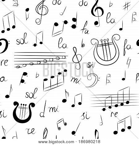 Seamless Pattern of Hand Drawn Set of Music Symbols. Doodle Treble Clef Bass Clef Notes and Lyre. Sketch Style. Vector Illustration.