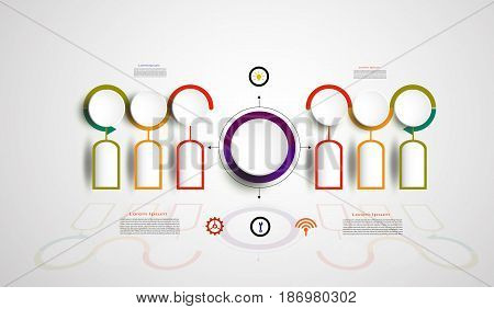 Infographics timeline design template for business concept and icons. Can be used for workflow layout diagram number options step up options web designBusiness concept presentations with 6 steps options.Vector illustration.