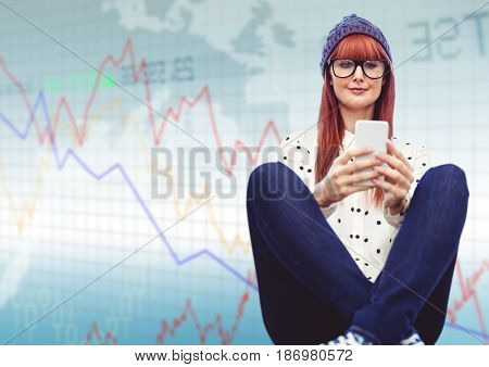 Digital composite of Woman with phone and legs crossed against blue graph