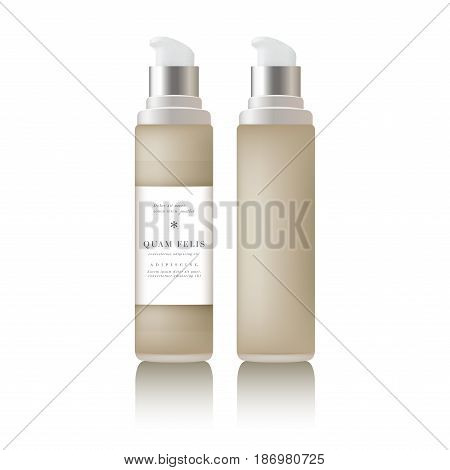Beige realistic tube mock-up for cream dispenser, lotion, gel, medicine cream, tone cream, ointment, concealer, salve. Cosmetic vial