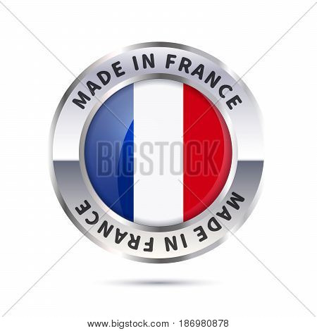 Glossy metal badge icon, made in France with flag