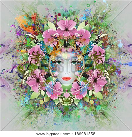 Beautiful female model with abstract colorful floral background with butterflies