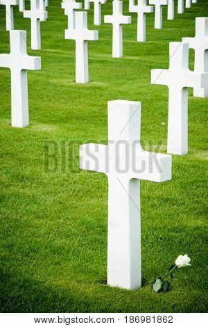 White crosses in American Cemetery, Coleville-sur-Mer, Omaha Beach, Normandy, France.