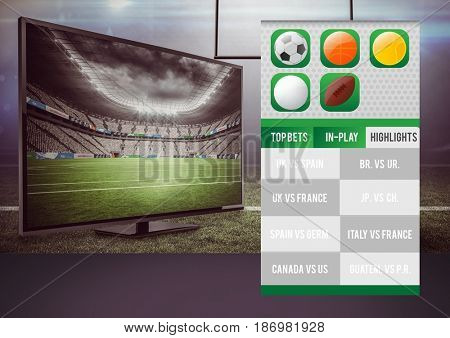 Digital composite of Betting App Interface television