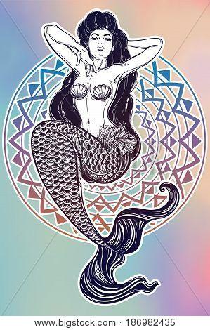 Hand drawn artwork of beautiful mermaid girl with fairytale hair. Graceful ocean siren in retro style. Sea, fantasy, spirituality, mythology, tattoo art, coloring books. Isolated vector illustration.