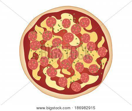 an illustration of classic pepperoni pizza with bread base tomato sauce cheese and pepperoni sprinkled with herbs