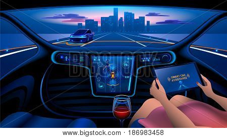 Autonomous Smart car interior. A woman rides a autonomous car in the city on the highway. The display shows information about the vehicle is moving GPS travel time Assistance app. Future concept.