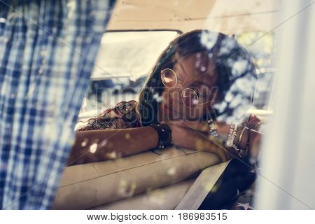 Adult Woman Taking a Nap in a Van During Road Trip