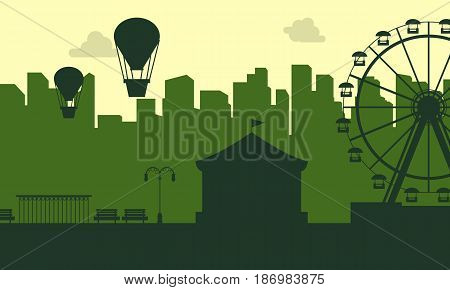 Collection stock of carnival funfair scenery silhouettes illustration