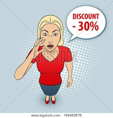Cartoon Illustration of a Young Woman in Red Blouse with Speech Discount.