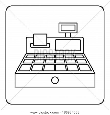 Sale cash register icon in outline style isolated vector illustration