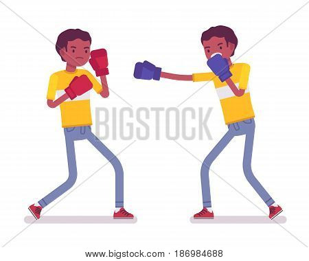 Set of black or african american young men boxing, competing, wearing protective gloves, throwing punches at each other, attacking, vector flat style cartoon illustration, isolated, white background