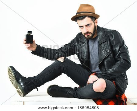 Bearded Man, Caucasian Hipster With Moustache And Hat Holding Perfume