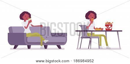 Set of black or african american young woman, sitting with coffee on sofa, eating at the table, fried chicken bucket on it, relaxing, vector flat style cartoon illustration, isolated, white background