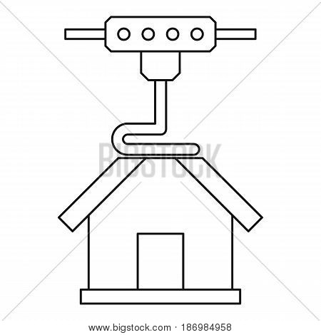 3d printer printing house icon in outline style isolated vector illustration