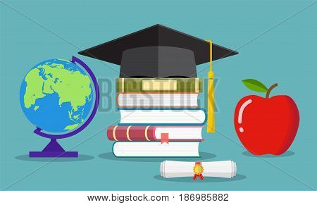 Education concept. Graduate hat, globe, pile of books, diploma and apple. illustration in flat style