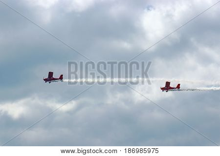 danger between aircraft during flight aviation accident. two planes