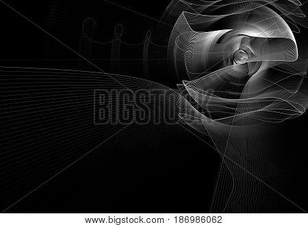 Monochrome rotating abstract fractal on black background. Virtual Reality. Design element